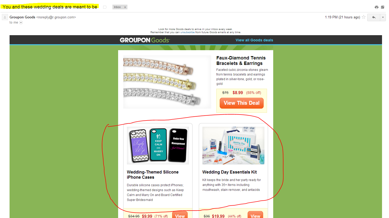 Me and these wedding deals are meant to be? THANKS GROUPON.